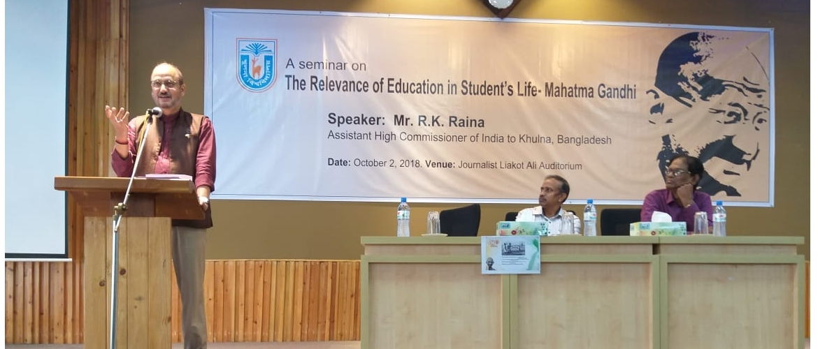 "AHC delivering a talk entitled ""The relevance of education in a student's life-Mahatma Gandhi"" organised in association with Khulna University on 2nd October at 11AM , On the dais are Professor Dr. Mohammad Fayek Uzzaman, Vice-Chancellor, Khulna University(center) & Professor Sadhan Ranjan Ghosh, Treasurer & expert on Bengali literature, Khulna University."