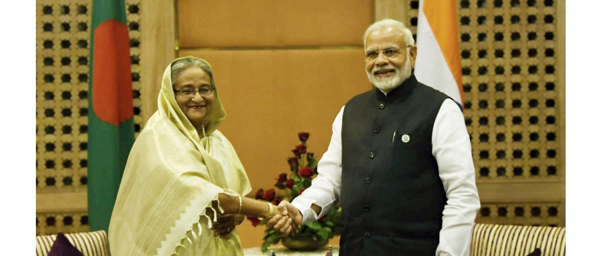 The Prime Minister, Shri Narendra Modi meeting the Prime Minister of Bangladesh, H.E. Sheikh Hasina, on the sidelines of the 4th BIMSTEC Summit, in Kathmandu, Nepal