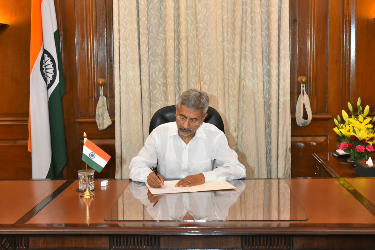 The new External Affairs Minister of India Dr S Jaishankar assumes office.