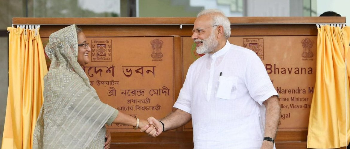 Prime Minister of India Shri Narendra Modi with the Prime Minister of Bangladesh H.E. Sheikh Hasina at Visva Bharati University in Santiniketan, India.